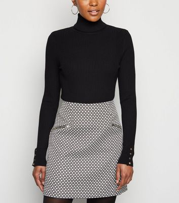 Black Roll Neck Popper Cuff Top