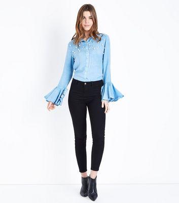 Blue Vanilla Blue Pearl Beaded Bell Sleeve Shirt New Look
