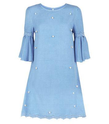 Blue Vanilla Bright Blue Pearl Embellished Dress New Look