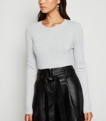Pale Grey Crew Neck Ribbed Jumper