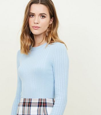 Pale Blue Crew Neck Ribbed Jumper