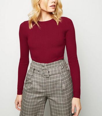 Burgundy Crew Neck Ribbed Jumper