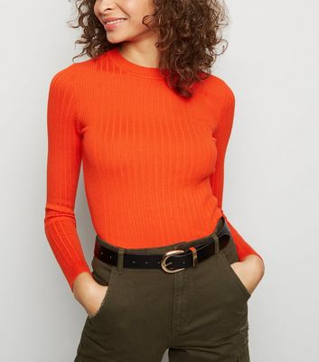 Orange Neon Crew Neck Ribbed Jumper