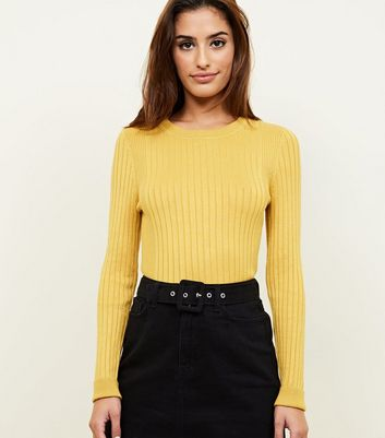 Mustard Crew Neck Ribbed Jumper
