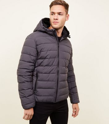 Dark Grey Hooded Puffer Coat