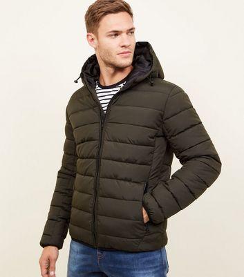shop for Men's Khaki Hooded Puffer Coat New Look at Shopo