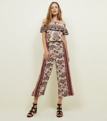 White Border Print Wide Leg Cropped Trousers