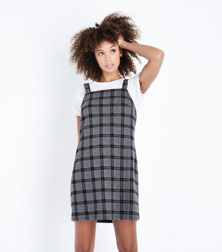 f76f8ee17d3e Grey and Yellow Check Pinafore Dress