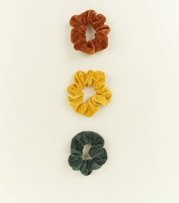 3 Pack Multi Coloured Cord Scrunchie New Look