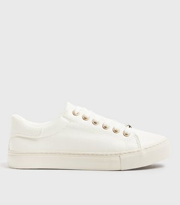 White Leather-Look Metal Trim Lace Up Trainers