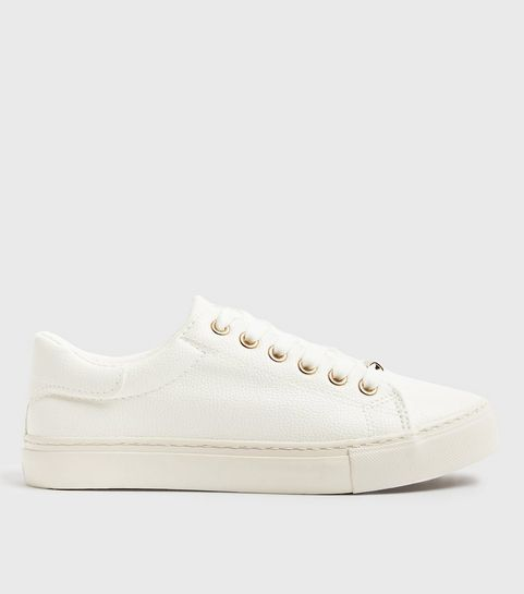 32a7e29c1b5d20 ... White Leather-Look Metal Trim Lace Up Trainers ...