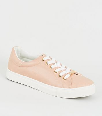 Nude Leather-Look Metal Trim Trainers