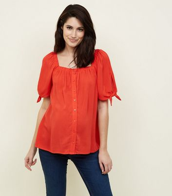 Maternity Red Square Neck Button Front Top
