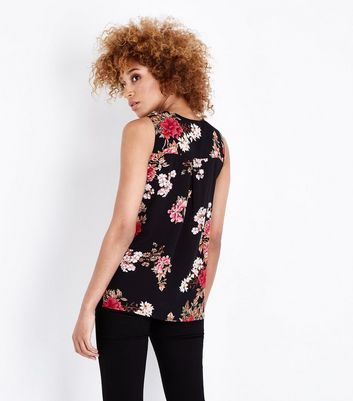 Cameo Rose Black Floral Vest Top New Look
