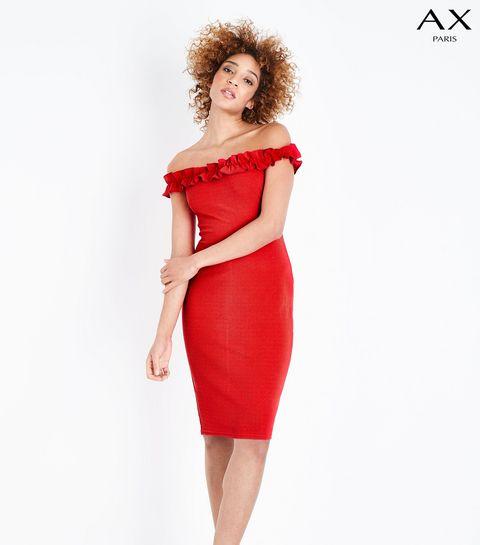 57db2750ff2 ... AX Paris Red Ruffle Bardot Neck Midi Dress ...