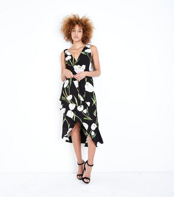 AX Paris Black Floral Asymmetric Hem Dress