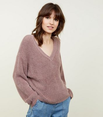 Mink V-Neck Fluffy Jumper