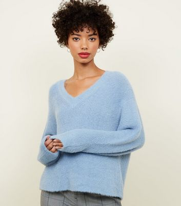 Pale Blue V-Neck Fluffy Jumper