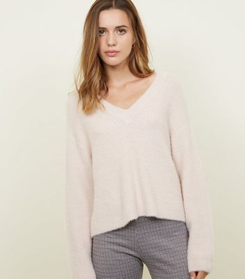 Pale Pink V-Neck Fluffy Jumper