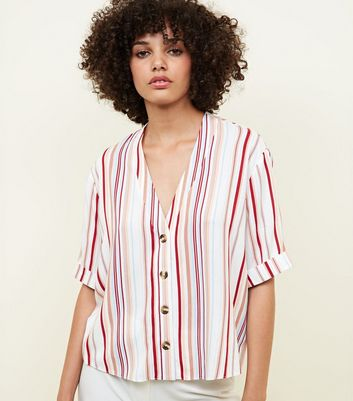 Tall White Stripe Button Front Boxy Shirt