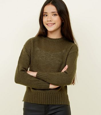 Girls Khaki Green Knitted Jumper