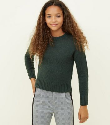Girls Dark Green Knitted Jumper