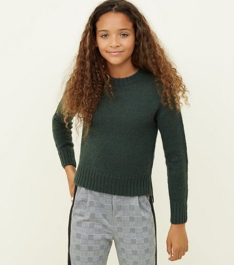 b4574524c4 ... Girls Dark Green Knitted Jumper ...