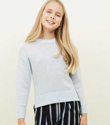 Girls Blue Knitted Jumper