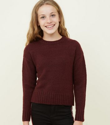 Girls Burgundy Knitted Jumper