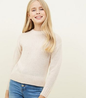 Girls Pale Pink Knitted Jumper