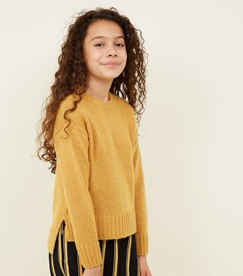 Girls Mustard Knitted Jumper