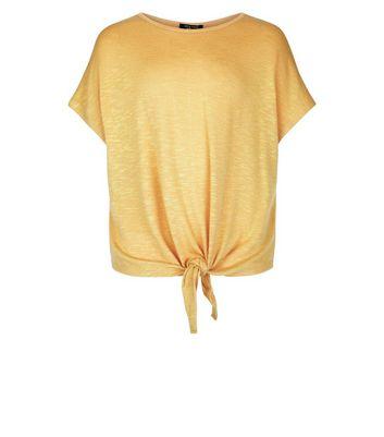 Teens Mustard Tie Front T-Shirt New Look