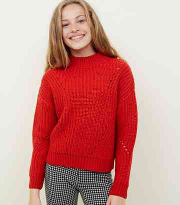 Girls Red Chunky Knit Pointelle Jumper