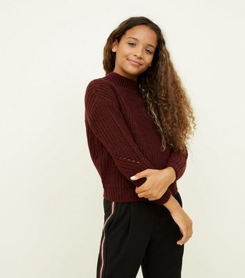 Girls Burgundy Chunky Knit Pointelle Jumper