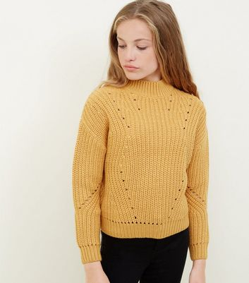 Girls Mustard Chunky Knit Pointelle Jumper