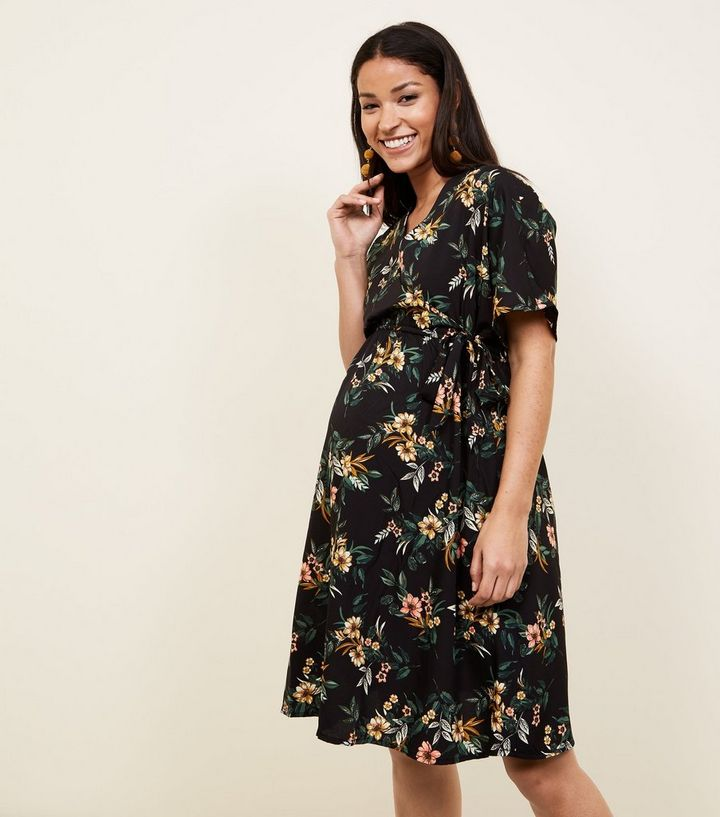 49acd6df13 Maternity Black Floral Wrap Front Dress