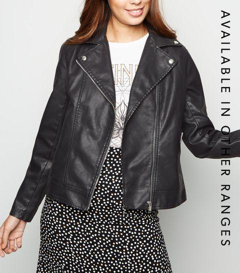 ed9536494d9 ... Black Leather-Look Biker Jacket ...