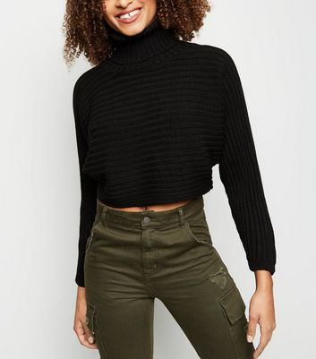 Black Roll Neck Boxy Cropped Jumper