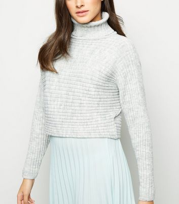Grey Roll Neck Boxy Cropped Jumper