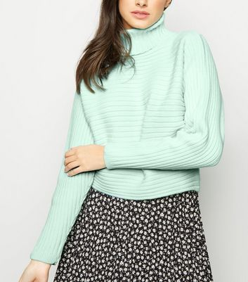 Mint Green Roll Neck Boxy Cropped Jumper