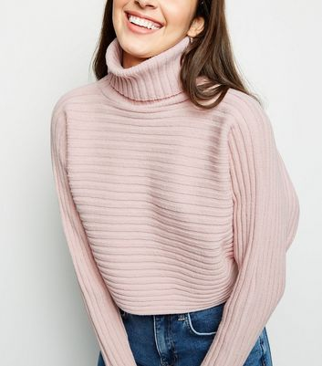Pale Pink Roll Neck Boxy Cropped Jumper