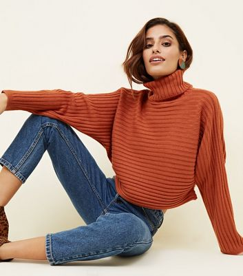 Orange Ribbed Roll Neck Cropped Batwing Jumper