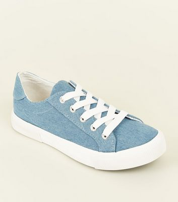 Girls Blue Denim Lace Up Chunky Trainers