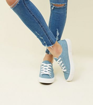 Blue Denim Lace Up Chunky Trainers