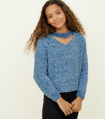 Girls Pale Blue Chenille Choker Neck Jumper