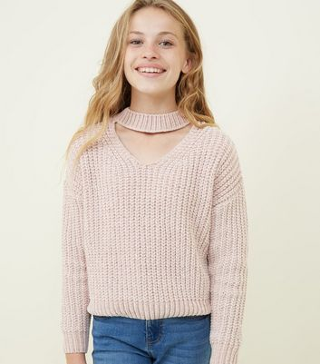 Girls Pale Pink Chenille Choker Neck Jumper