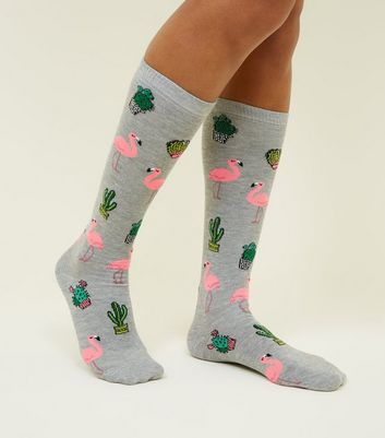 Grey Flamingo Cactus Pattern Knee High Socks New Look