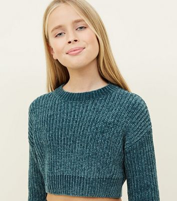 Girls Dark Green Chenille Jumper