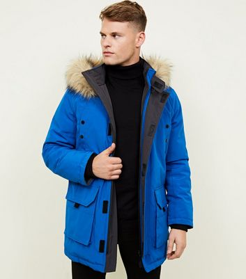 Blue Faux Fur Trim Hooded Parka