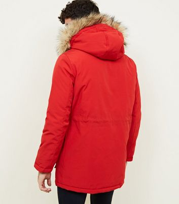 shop for Men's Red Faux Fur Trim Hooded Parka New Look at Shopo